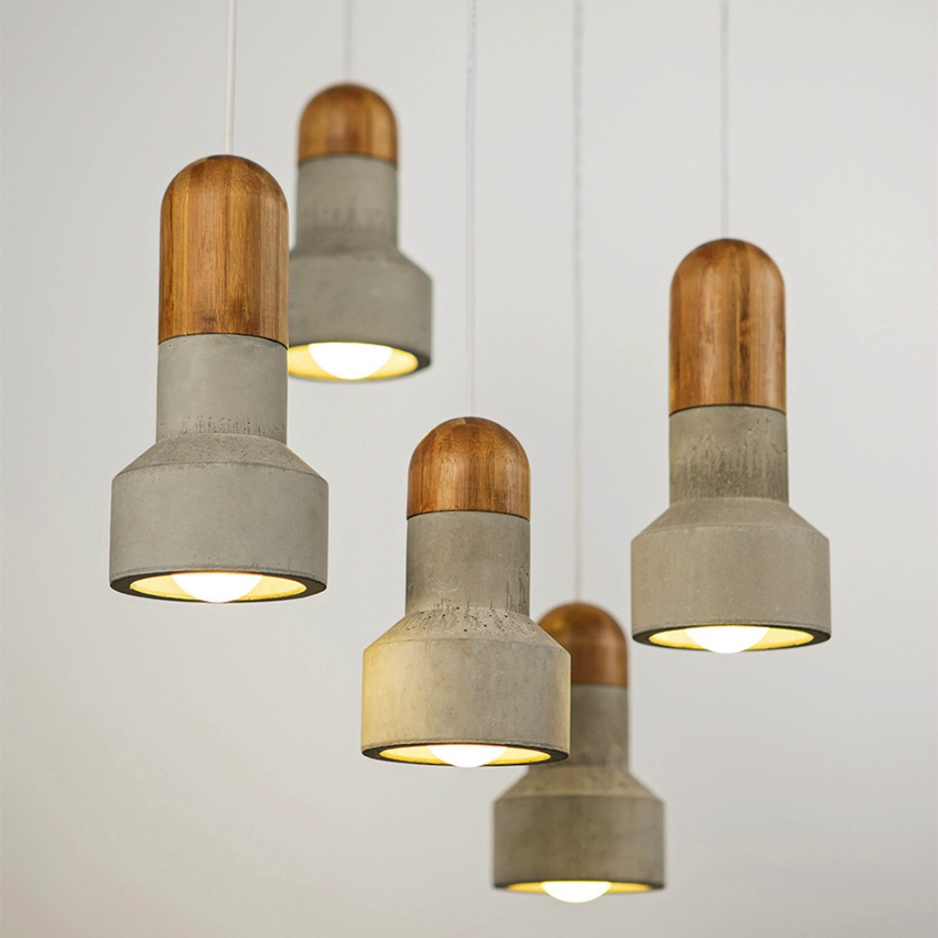 Concrete and Bamboo Pendants by Bentu Design
