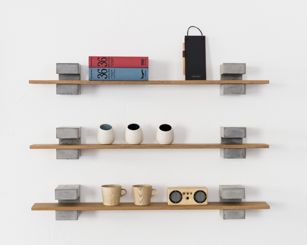 Wood and Concrete Shelf by Sue Pryke