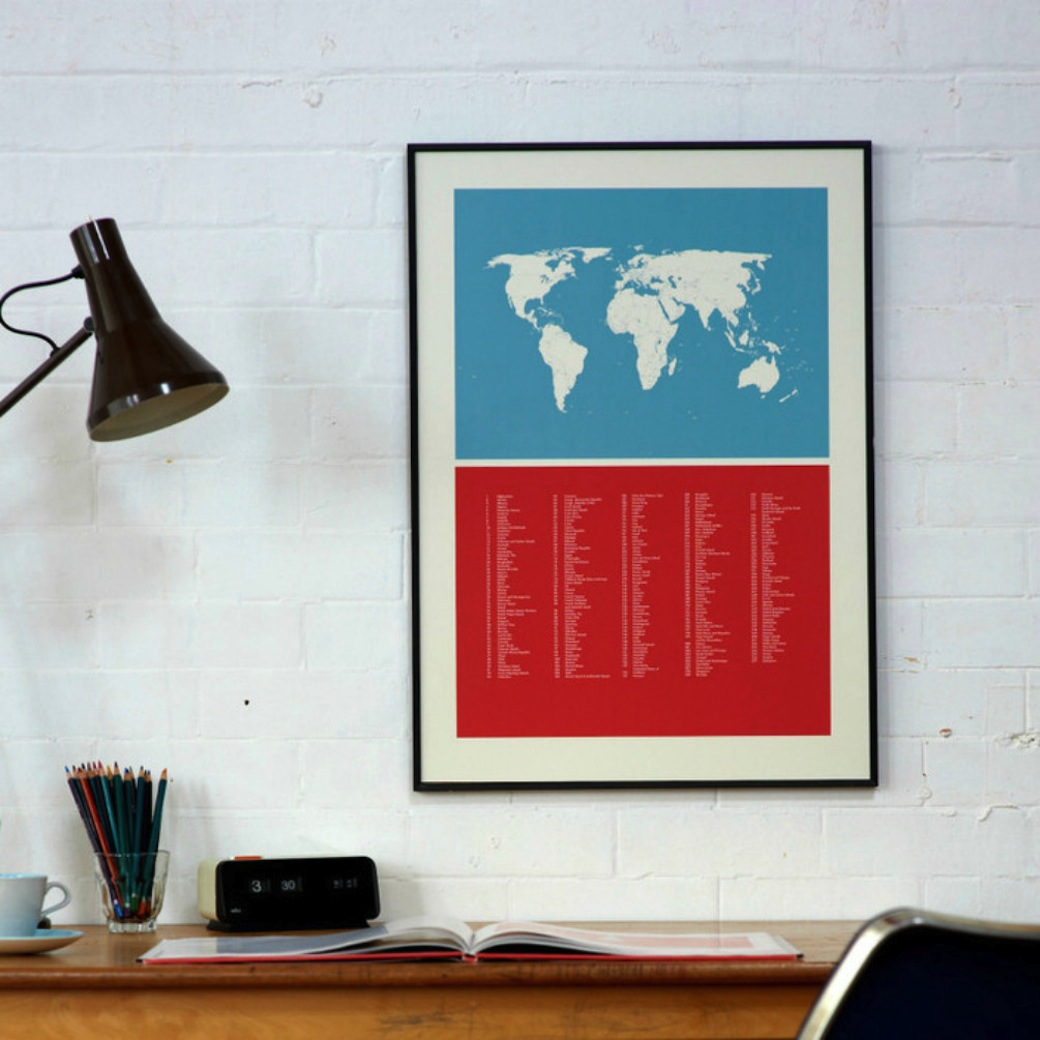 'World Map' hand-pulled print by Lane by Post