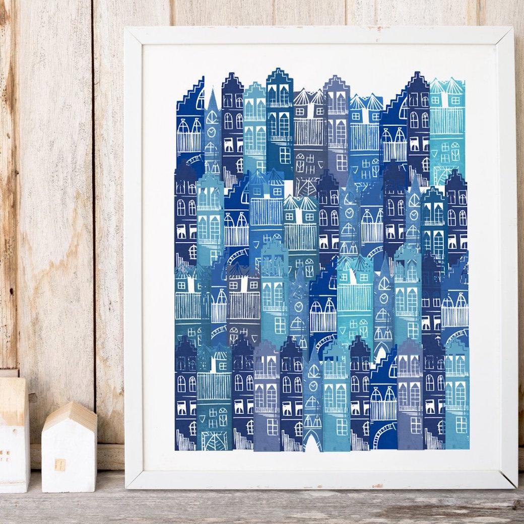 Edinburgh Cityscape Print by Jenni Douglas.