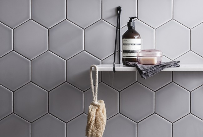 Savoy Steel hexagon tiles by Gemini Tiles.